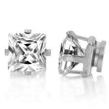 magnetic earrings square cut cz non pierced magnetic earrings 6mm