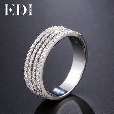 gold wedding bands for women edi unique pave diamond ring 14k 585 white gold wedding