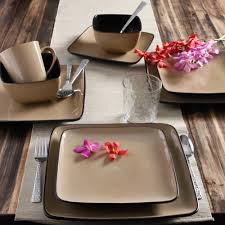 gibson everyday square 16 dinnerware set taupe