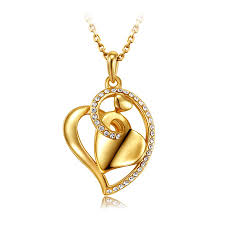 love crystal necklace images Collar mujer famous brand jewelry gold plated heart love crystal jpg