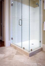 clean crisp lines for this walk in guest bathroom shower white