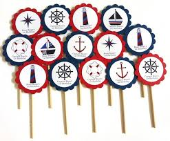nautical cake toppers nautical cupcake toppers in navy blue and adore by nat