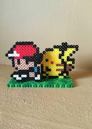 pokemon inspired 8 bit ash and pikachu 3d standee u2022 eb perler