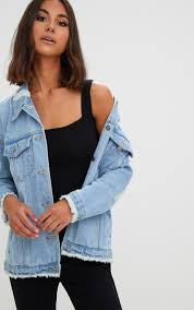 Light Denim Jacket Aymeline Light Wash Distressed Oversized Denim Jacket Coats