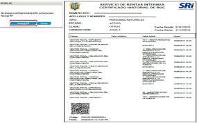 lista blanca sri ecuador historial ruc y certificado de establecimiento