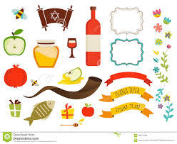 symbols of rosh hashanah jewish new year stock vector image