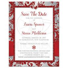 Date Invitation Card Photo Wedding Save The Date Card Red Silver Gray White
