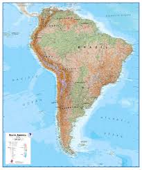 chile physical map south america wall map physical