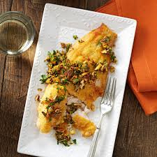 Catfish Dinner Ideas Pan Fried Catfish With Spicy Pecan Gremolata Recipe Taste Of Home