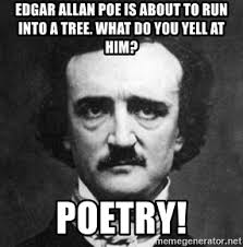 Edgar Allen Poe Meme - edgar allan poe is about to run into a tree what do you yell at him
