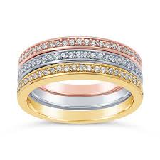 silver coloured rings images Sterling silver tri color cz set stackable ring set jpg