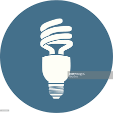 blue and white energy efficient light bulb icon vector art getty