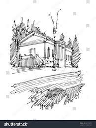 sketch building sketch house park stock vector 393159292