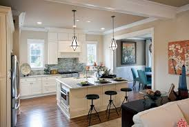 beige walls with brown trim kitchen traditional with open space