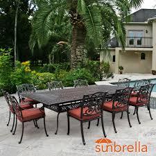 Outdoor Lifestyle Patio Furniture by Villa Flora 11 Piece Cast Aluminum Patio Dining Set W Rectangular