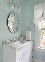 Wallpapered Bathrooms Ideas Turquoise Wallpaper Powder Room With Light Turquoise Wallpaper