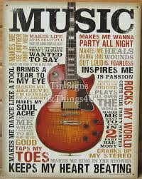 Music Decor Music Inspires Me Tin Sign Metal Poster Vtg Guitar Wall Art Home