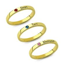 name ring gold stackable name ring with birthstone gold plated