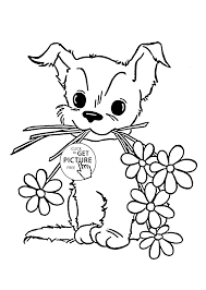 cute puppy with flower coloring page for kids animal coloring