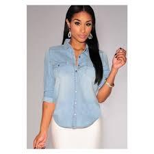 femme bureau chemise jean bureau nouveau femme denim rétro chemise manche
