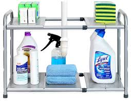 easy home expandable under sink shelf expandable under sink organizer a thrifty mom recipes crafts