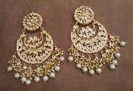 earrings online buy white kundan chandbali earrings online