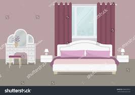 bedroom purple color there dressing table stock vector 684018010