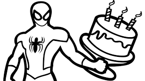 birthday spiderman with birthday cake coloring book coloring pages