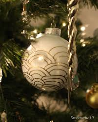 deco inspired white and gold glass ornaments