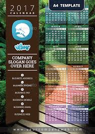 2017 one page calendar template by vlmr graphicriver