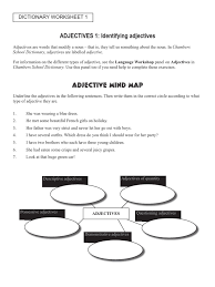 dictionary worksheet 1 adjective syntactic relationships