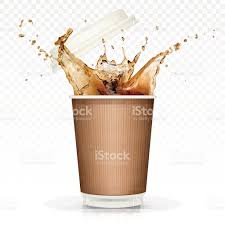 drink splash coffee splash in paper cup isolated on transparent background