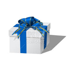 white blue ribbon white gift box with blue ribbon royalty free vector clip image