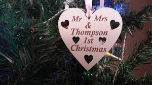 1st christmas tree bauble decoration engraved u0026 personalised in wood