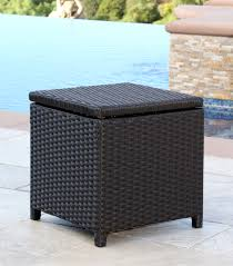 Patio Storage Ottoman Patio Furniture Newport Outdoor Espresso Brown Wicker Storage