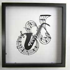 One Of A Kind Home Decor Saxophone W Music Notes Black Silhouette Paper Cut For Music