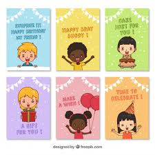 birthday card pack with hand drawn children vector free download