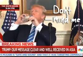Drinking Water Meme - donald trump halts white house address to drink water it s