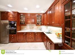wooden kitchen simple wooden kitchen cupboards countertops refrigerator stock
