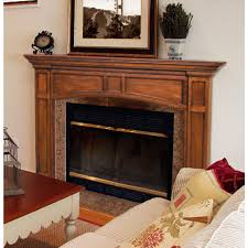 wood fireplace mantel surround with arched opening brick anew
