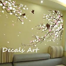 Wall Transfers For Bathroom Cherry Blossom Branches With Birds Vinyl Wall Sticker Wall