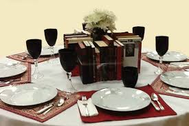 red black and white book centerpieces the bookshelf of emily j