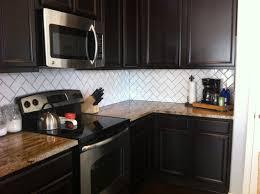 brilliant white tile backsplash dark cabinets t intended design