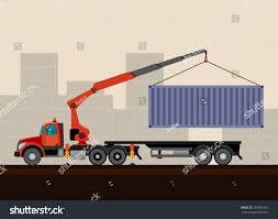 crane truck loading container cargo box stock vector 301031261