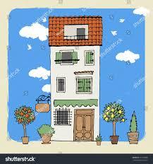 european houses view old european houses vector illustration stock vector