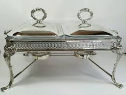 vtg silver plated double chafing dish footed buffet server marinex