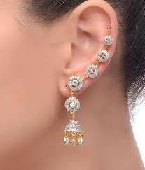 ear cuffs india jhumka cz earring cuffs by chaahat buy jhumka cz earring cuffs