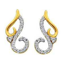 earring design bling fancy curve design earrings made with real gold and