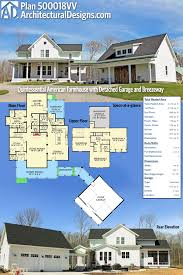2 car garage sq ft plan 500018vv quintessential american farmhouse with detached