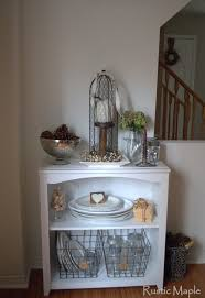 rustic maple fall bookcase vignette in our dining room